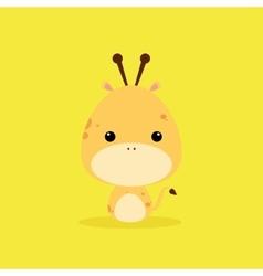 Cute cartoon wild giraffe vector
