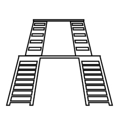 Double ladders icon outline style vector