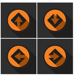 four orange round - black arrows and shadows vector image vector image