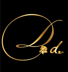 Gold letter D with roses vector image