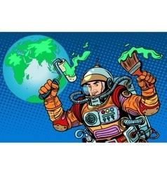 Green earth ecology astronaut vector