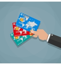 Hands holding bank cards vector image vector image