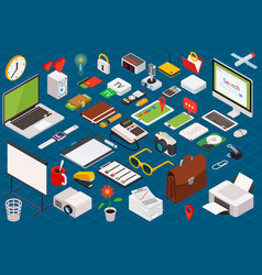 isometric composition of computer technology vector image