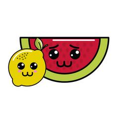 Kawaii sad watermelon and happy lemon icon vector