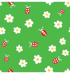 Ladybug and flowers seamless pattern vector image vector image