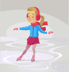 little smiling girl character skates vector image