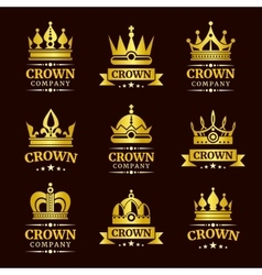 Luxury crown logo set vector image