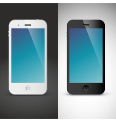 Mobile phone on black and white background vector image vector image