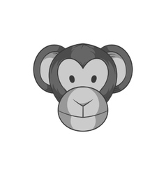 Monkey face icon black monochrome style vector