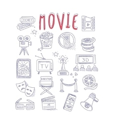 Movie Produstion And Industry Objects Collection vector image