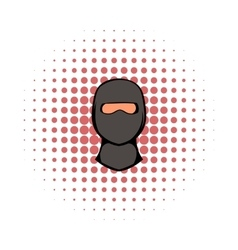 Ninja mask icon comics style vector