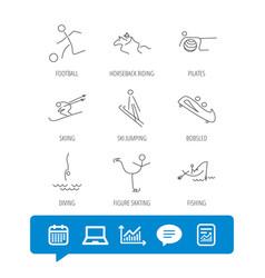 Pilates football and skiing icons fishing vector