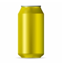 Realistic yellow aluminum can vector image