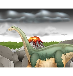 Scene with dinosaur and volcano vector image