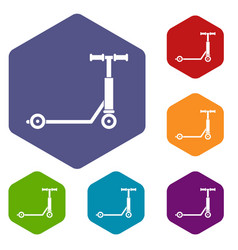 scooter icons set hexagon vector image