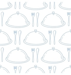 Seamless pattern with hand drawn serve dish vector