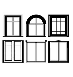 Set of windows in black color vector