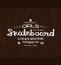 Skateboard typographic emblem vector image