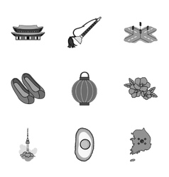 South korea set icons in monochrome style big vector