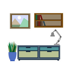stylish furniture for living room colorful vector image