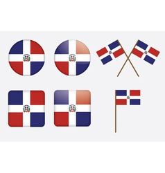 Dominican republic flag badges vector