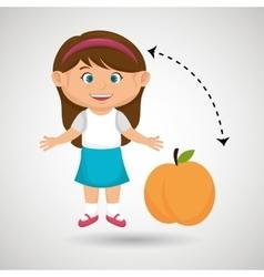 Cartoon girl peach fruit vector