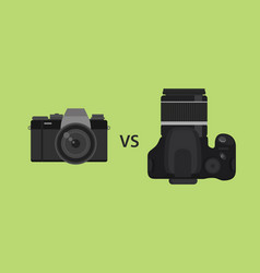 Comparing mirrorless camera vs dslr camera picture vector