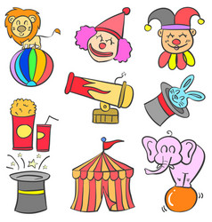 doodle of various object circus vector image