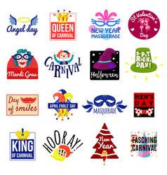 Carnival emblem label logo set vector