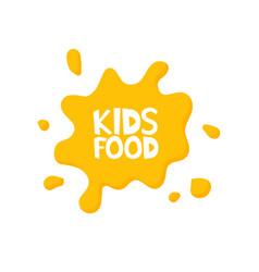 Kids food letters in juice splash vector