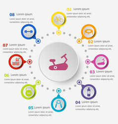 Infographic template with fitness icons vector