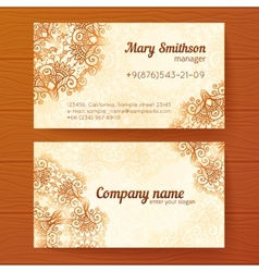 Ornate vintage business cards template vector