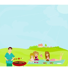Family having a barbecue party vector