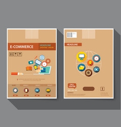Set of e-commerce magazine cover vector