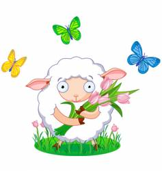 spring sheep vector image