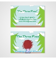 Business card template whit women in the wood vector