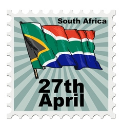 Post stamp of national day of south africa vector