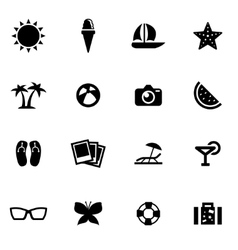 Black summer icon set vector