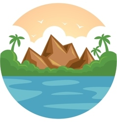Summer vacation holiday tropical ocean island with vector