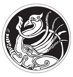 A druidic astronomical symbol of a phoenix bird vector