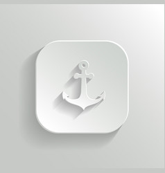Anchor icon - white app button vector