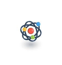 Atom physic symbol isometric flat icon 3d vector