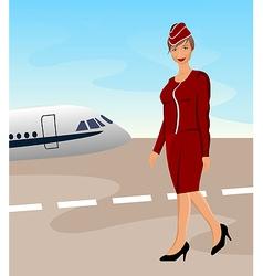 beautiful stewardess at the airport - vector image