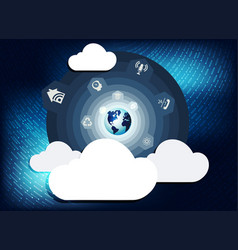 Blue background with computer clouds vector