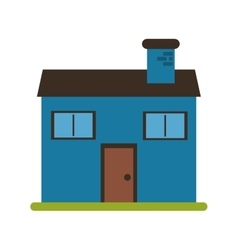 Blue home family chimney grass vector