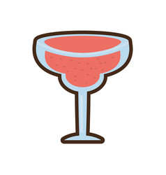 Cartoon glass cup cocktail drink vector