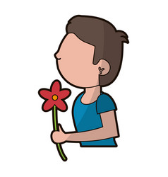 cartoon son boy and flower gift vector image