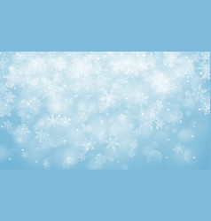 Christmas background of snowflakes with bokeh vector
