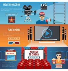 Cinema Flat Horizontal Banners Set vector image vector image