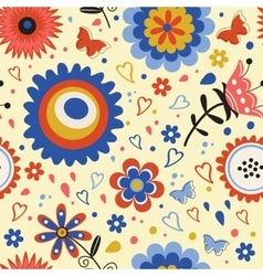 Colorful blooming flowers seamless pattern vector image